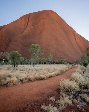 Pastel light on Uluru, Australia.