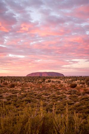 A cotton candy sunrise at Uluru, Australia.