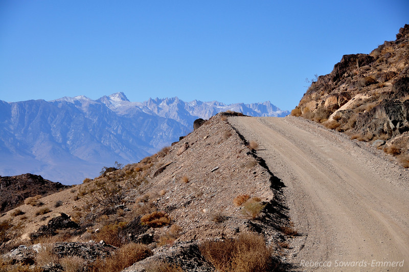 Cerro Gordo is in the Inyo Mountains and offers an incredible view across Owen's Valley to the Southern Sierra. The peak just above the middle of the road's horizon is Mt Whitney.