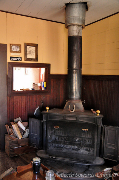 Wood stove inside one of the caretaker homes.
