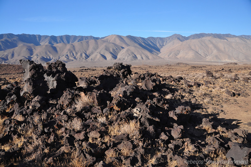 Lava piles and the southern Sierra from camp