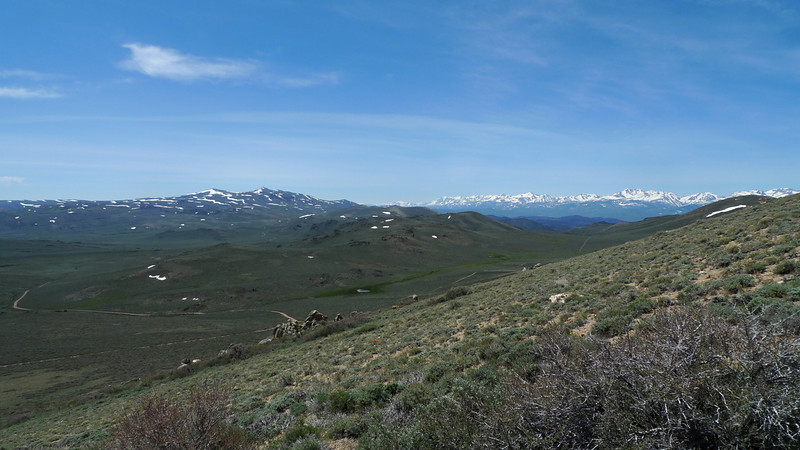The two snowy closer peaks are Potato and Bodie - our next destination.