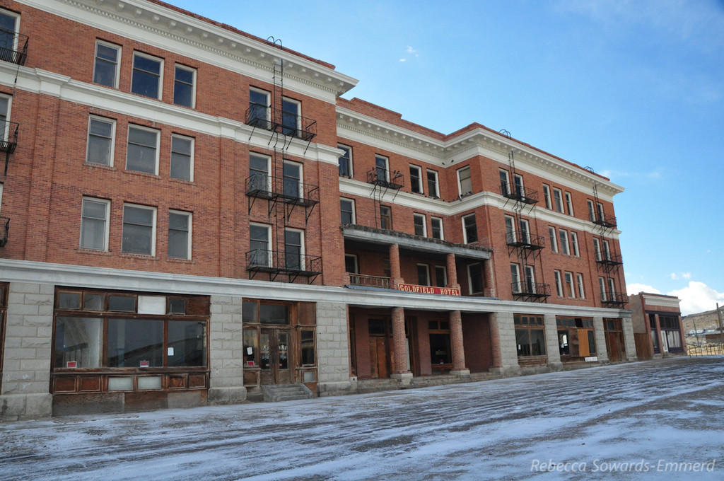 The vacant Goldfield hotel. Peeking through the windows, the interior looked like something in Bodie.