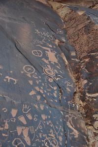 Newspaper Rock handprints and footprints
