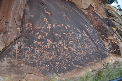 Newspaper Rock, a small pullout on the road into the Needles district of Canyonlands National Park. Wow!