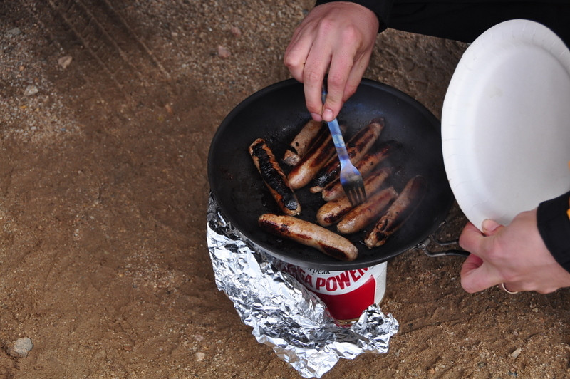 My favorite car camping breakfast! Chicken apple sausages from Dittmer's charred over a teeny tiny camp stove. Mmmmm!