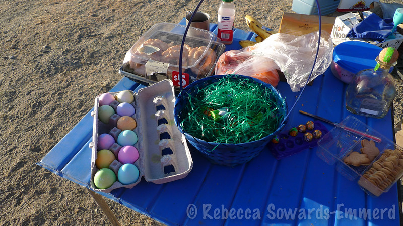 Easter morning in camp. The easter bunny came!