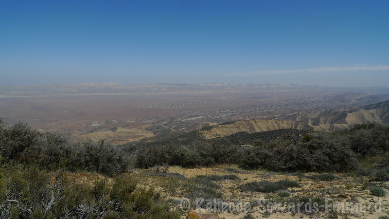 Looking across Carrizo Plain. The Temblor range across the way, and the strip of lighter rock is the San Andreas Fault.