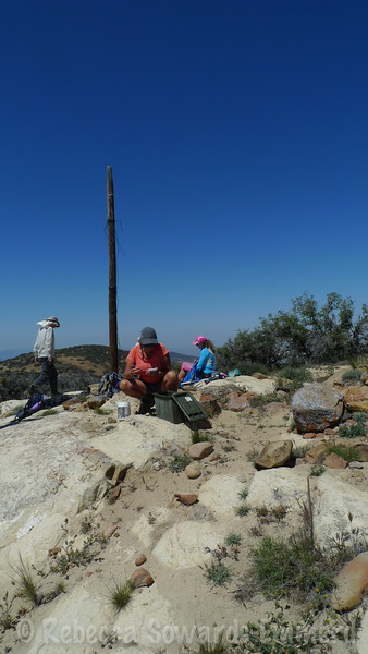 Breaking on the summit. Old power pole is no longer useful.