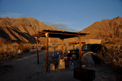 Our campsite. It was cold enough that we didn't need the shade shelter.