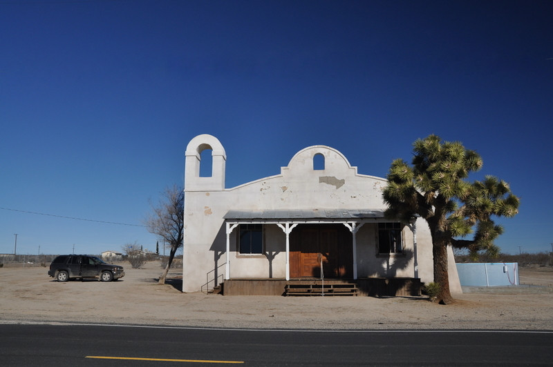 Kill Bill Church<br /> <br /> I love the Joshua Tree in front of this chuch. The pool on the side is a mystery though. Considering we stopped by on a sunday morning, the place was quiet and deserted.