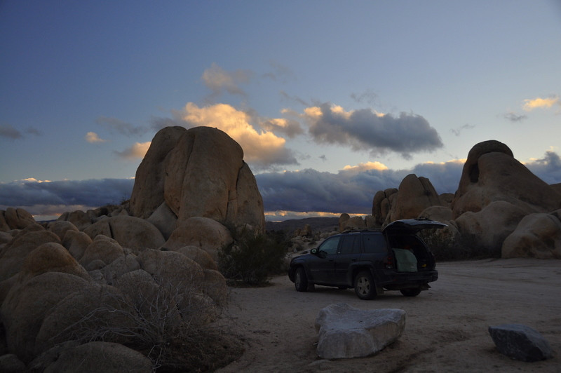 Our trusty trailblazer (still pretty clean at this point) at our White Tanks campsite.