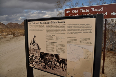 Old Dale Info: The chase for gold here began in the early 1880s. Wagons and trucks bumped along these roads carrying supplies and ore. The mining town of Dale - more a mining camp, because it moved with successive ore vein discoveries - supported 1000 people in its heyday. Miners and their families lived amid the whir and roar of mining machinery running day and night. Miners dealt with isolation and scarcity of water; you might too, if you choose to venture far along these backcountry roads. Travelers should be prepared, cautious, and self-sufficient - help may be a long time coming if you break down or run short on water.