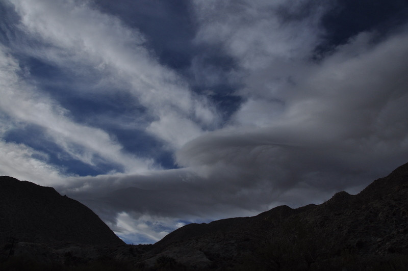 Strange looking morning clouds above our campsite at Agua Caliente. There were storms in the forecast and lenticular clouds hanging around nearby peaks.