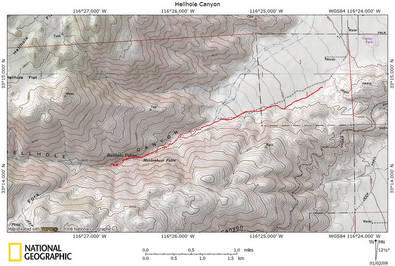 Track of the hike up Hellhole canyon. Not so much a hellhole, actually it's a fun hike!