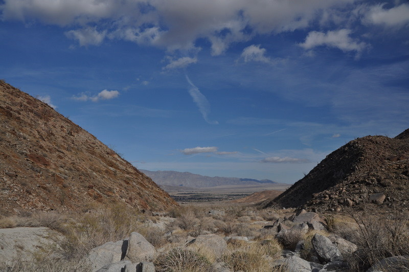 Looking back down the canyon towards the town of Borrego Springs