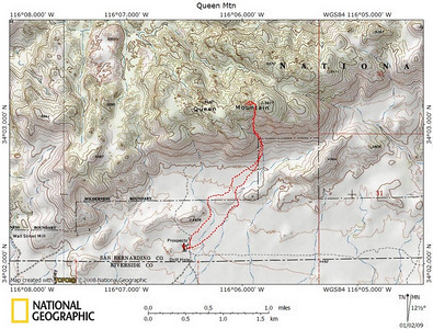 We awoke this day to temperatures in the mid 20s and clear skies. I was really looking forward to a peak since I knew a nice uphill hike would keep me warm. This is the route we took, the one that is described in both On Foot in Joshua Tree and Zdon's Desert Summits. The NG Topo software (screenshot below) disagrees with every other source I've found about which of the two peaks is the true summit. We went to the peak to the west which is what all of the books and other maps call the highest point. NG Topo shows it as the one to the east. In any case, there is only a difference of a few feet, and the western peak has the good view into Wonderland Of Rocks.