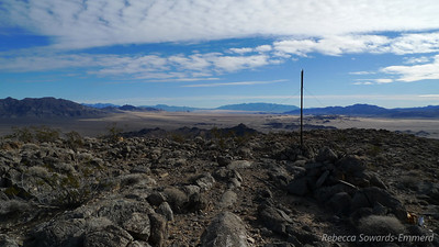 Post on the summit of Cowhole, looking south towards Kelso Dunes.