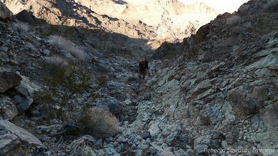 """Looking down on Robin and Sooz in one of the steeper and looser stretches towards the upper part of the gully. This is about the point where I thought """"I really don't want to go down this stuff"""""""