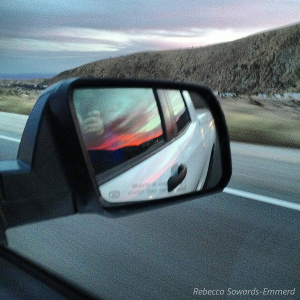 Driving out across Tehachapi and into Mojave, I caught sunset in the rear view side mirror of the truck.