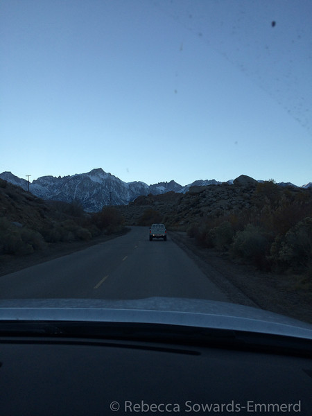 Heading towards Saturday night's camp in the alabama hills. Hello mt Whitney old friend.