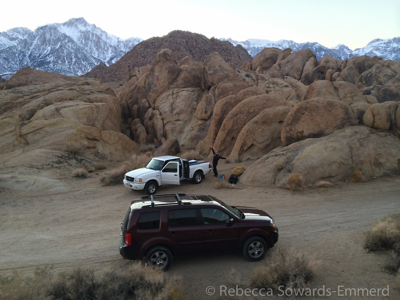 Sooz is happy. Lone Pine Peak towers above. Whitney is blocked by the big rock pile in the middle.