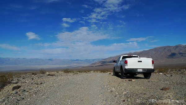 Back at the truck. We drive out of Death Valley and camp at Tuttle Creek for the night.