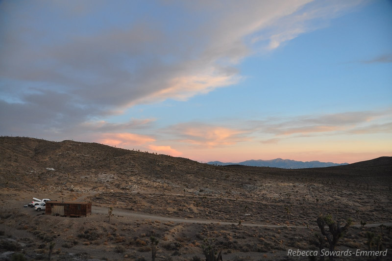 Looking back on camp before sunset. Telescope peak in the distance.