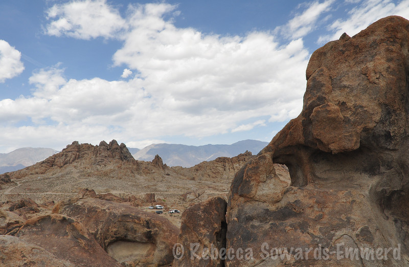 View towards camp from Behind the Heart Arch in the Alabama Hills