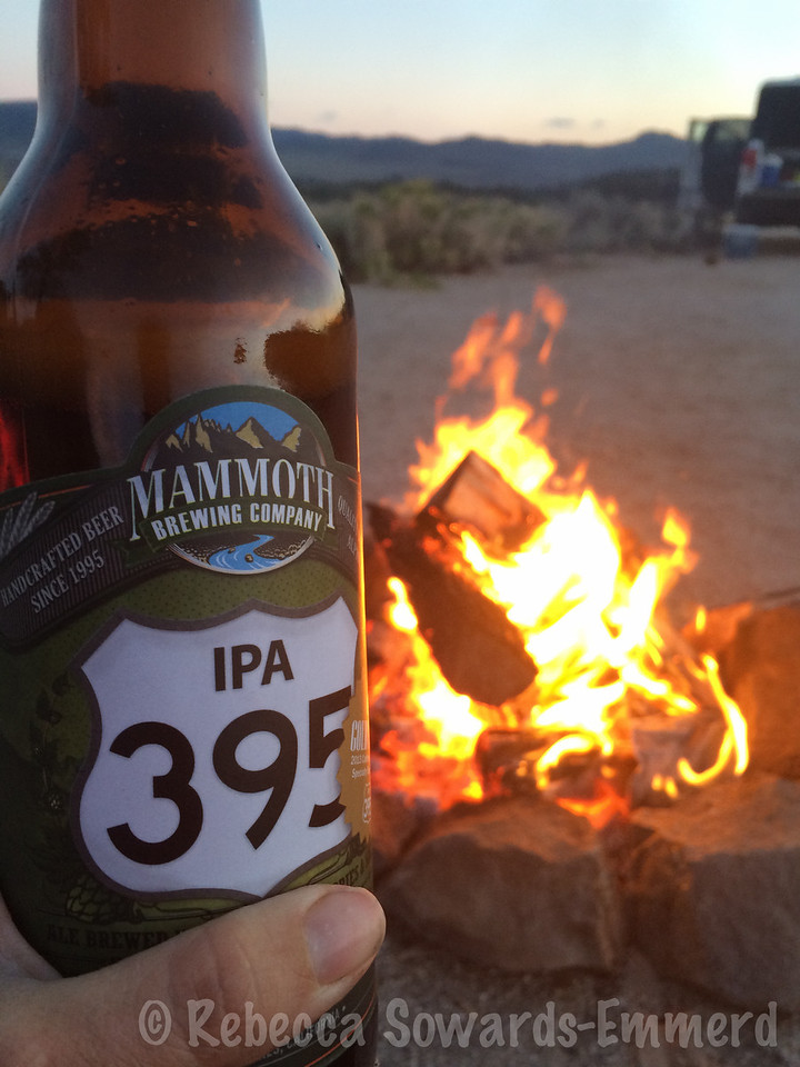 This is the life. A campfire, a yummy beer made with the herbs growing around camp, my puppy, and my man.