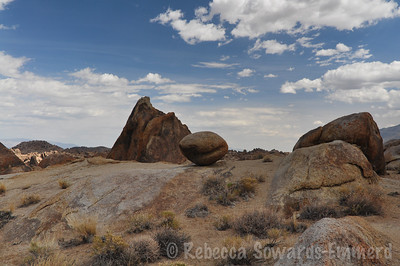 Back at the Alabama Hills, David and Thor relax while I take a hike through the Arches near our campsite.