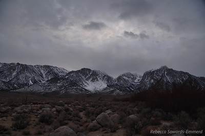 We spent the day tooling around Bishop, visiting hot springs, etc, then headed down to Tuttle Creek outside of Lone Pine for the last night. It was cloudy but no rain or snow fell. This is the view towards the mountains from our campsite. Lone Pine peak is the one on the right, and whitney is hidden behind it.