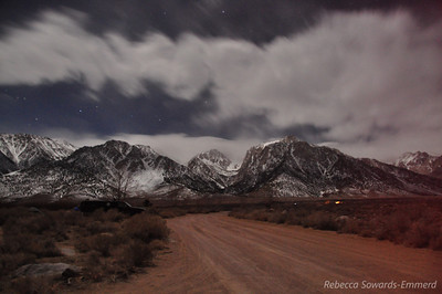 30 sec nighttime exposure of Lone Pine Peak and sierra from tuttle creek campground: