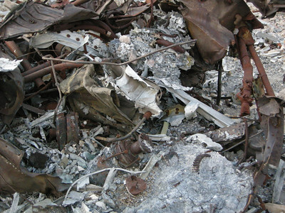 Crash debris - some of it fused together from the hot fire