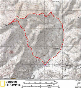 We park at a closed sign and start our loop of WInters Peak. We follow Zdon's instructions past the Schwaub townsite and up to a saddle, then follow the ridge to the summit. On the way down we took a much more straightforward wash. If I did it again I'd just take the wash.