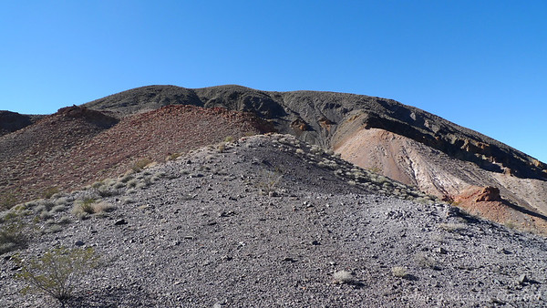 At the saddle. We'll head up this ridge towards the summit of Winters peak, still several false summits out of sight.