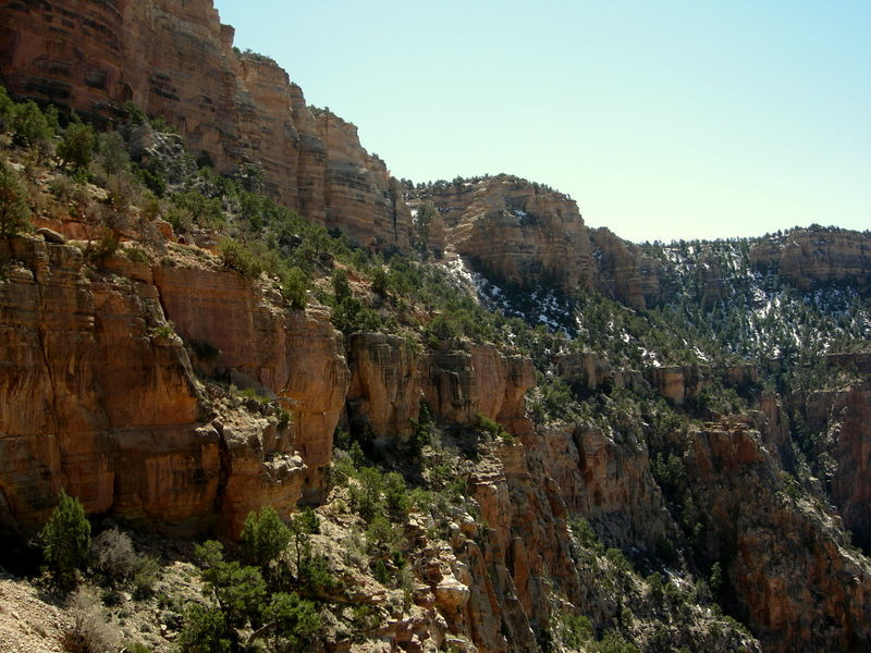 Looking back to the start of the South Kaibab<br /> <br /> The switchbacks came down the gulley in the middle of the photo
