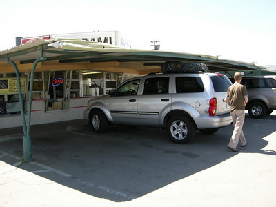 It's a dive but the food was good and cheap!  Our rental Durango barely squeezed in (packs loaded on the top)