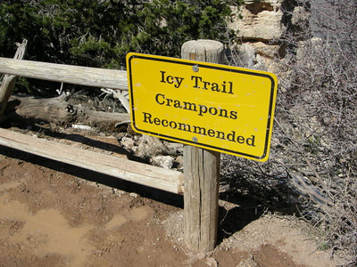 We had been warned about ice on the trail and were carrying crampons and shoe chains