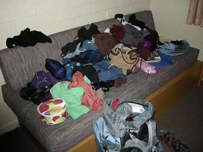 We spent the night at the Yavapai Lodge on the South Rim  It's a gear explosion as I try to sort out what I really need