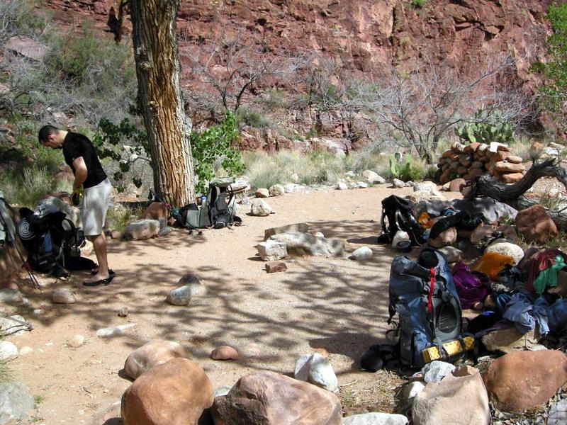 In camp - we got a great campsite downstream.