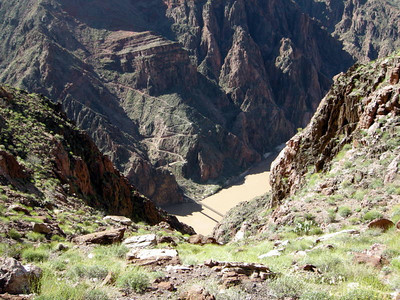The colorado, black bridge, and South Kaibab trail
