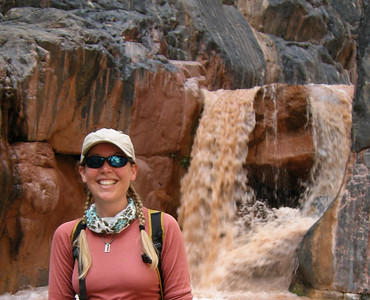 Me and Clear Creek falls  To get down we crept along that rock above my head