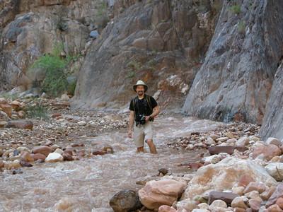 David wades his way down Clear Creek