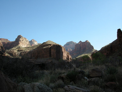 Looking up Clear Creek Canyon towards Thor Temple