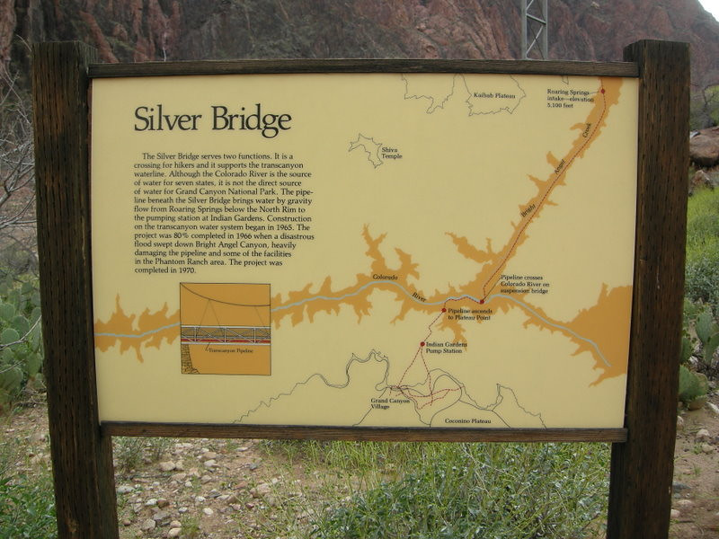 Info about the Silver Bridge<br /> <br /> It carries the water pipeline (and hikers) across the colorado