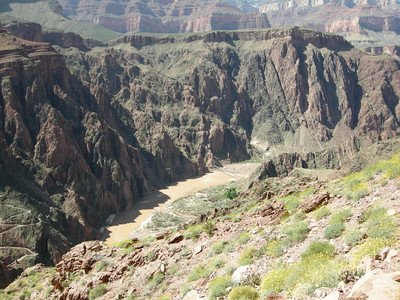 The South Kaibab, Colorado, and bridges still far below us