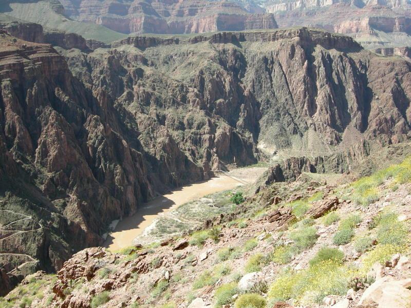 The South Kaibab, Colorado, and bridges still far below us