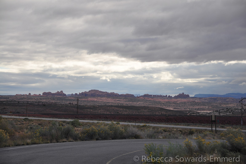 We spy the rocks of Arches National Park in the distance.