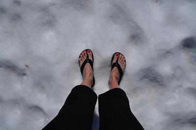 Flip Flops on the snow  Spring in California!